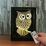 Ornerx 3D Illusion Lamp Photo Frame LED Night Light Owl