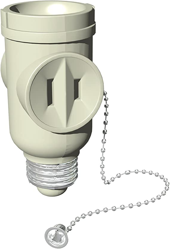 Details about  /Light Socket Adapter Pull Chain Control Bulb Switched Socket 2 Outlet GE