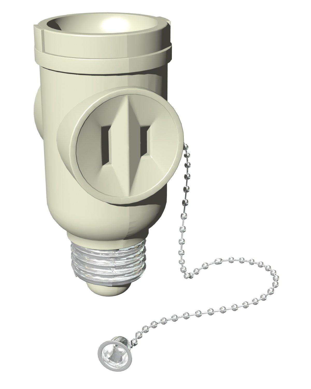 Stanley 30501 Pull Chain Socket Adapter, 2-outlet Light Bulb Socket ...