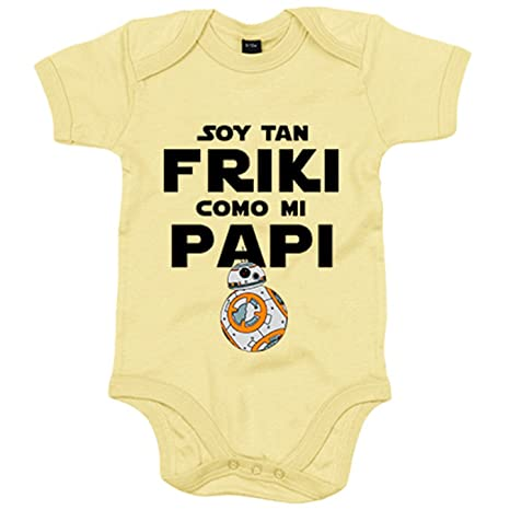 Body bebé Star Wars BB8 Soy tan friki como papi - Amarillo, 6-12