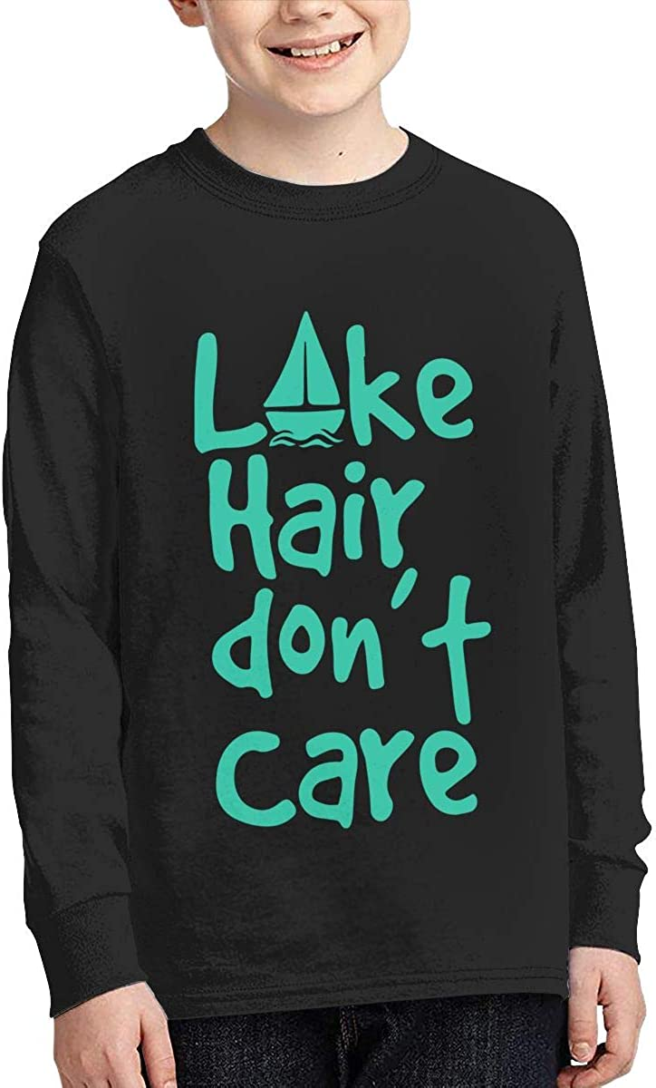 Teenagers Teen Girl Lake Hair Dont Care Printed Long Sleeve 100/% Cotton T Shirts