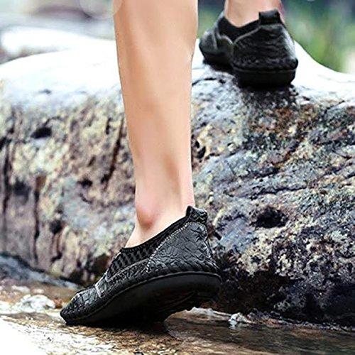 casual marchio traspirante Slip vera scarpe scarpe On Nero pelle in estive on da uomo estate moda Bebete5858 morbido uomo slip mesh scarpe confortevole w1SAqfq0