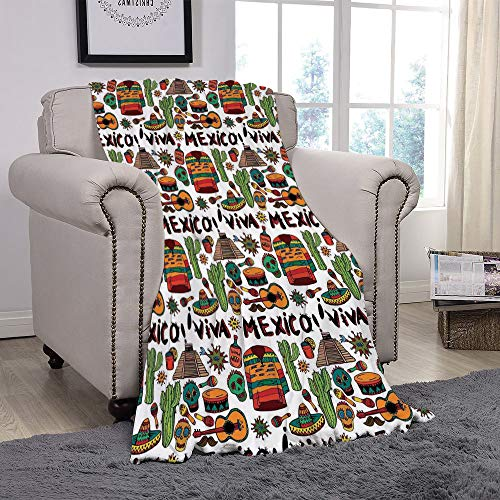 YOLIYANA Light Weight Fleece Throw Blanket/Mexican Decorations,Viva Mexico with Native Elements Poncho Tequila Salsa Hot Peppers Image,Multi/for Couch Bed Sofa for Adults Teen Girls -