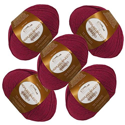 elann Highland Majesty Worsted Yarn | 5 Ball Bag | 1940 Ruby (Highland Knitting Yarn)