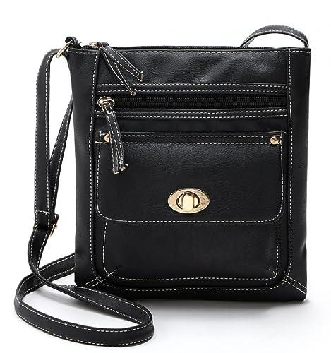 Womens Black Leather Cross body Shoulder Bag Organizer Purse with Turn-lock e82636797e755