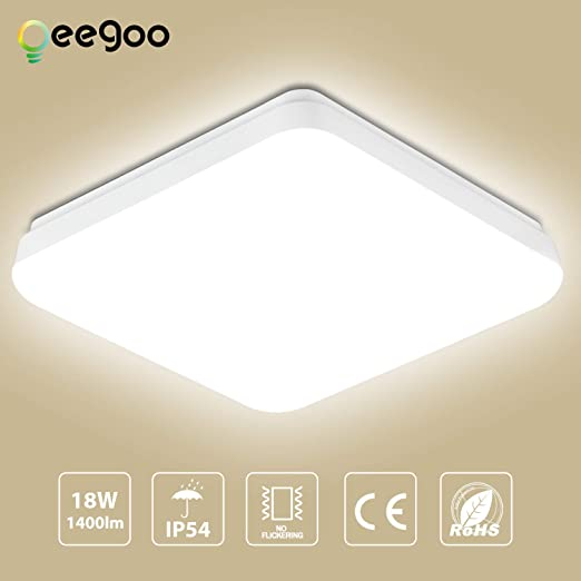 Oeegoo Lámpara LED de techo, LED Downlight 18W Impermeable IP54 Super brillante 1400LM 4000K Luz de techo Ideal para Sala de Estar, Cocina, Balcón, ...