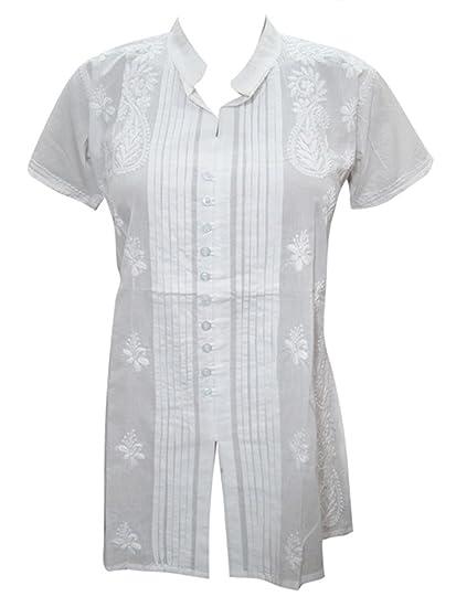e2d4bcad384 Mogul Interior Womens Tunic Shirt Cotton White Hand Embroidered Hippie  Kurti Top Blouse: Amazon.co.uk: Clothing