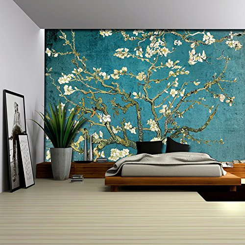 Vibrant Teal Gradient Almond Blossom by Vincent Van Gogh Wall Mural