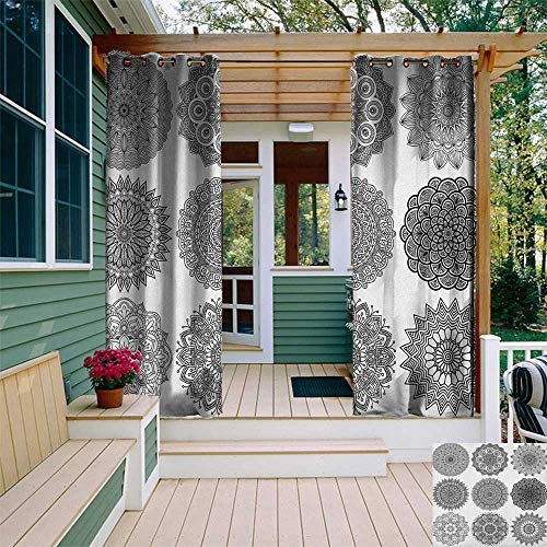 (leinuoyi Henna, Outdoor Curtain Panel Design, Ornamental Mandala Design Symmetric Ethnic Motifs Eastern Arabic Ottoman Inspiration, Fabric by The Yard W108 x L96 Inch Black White)
