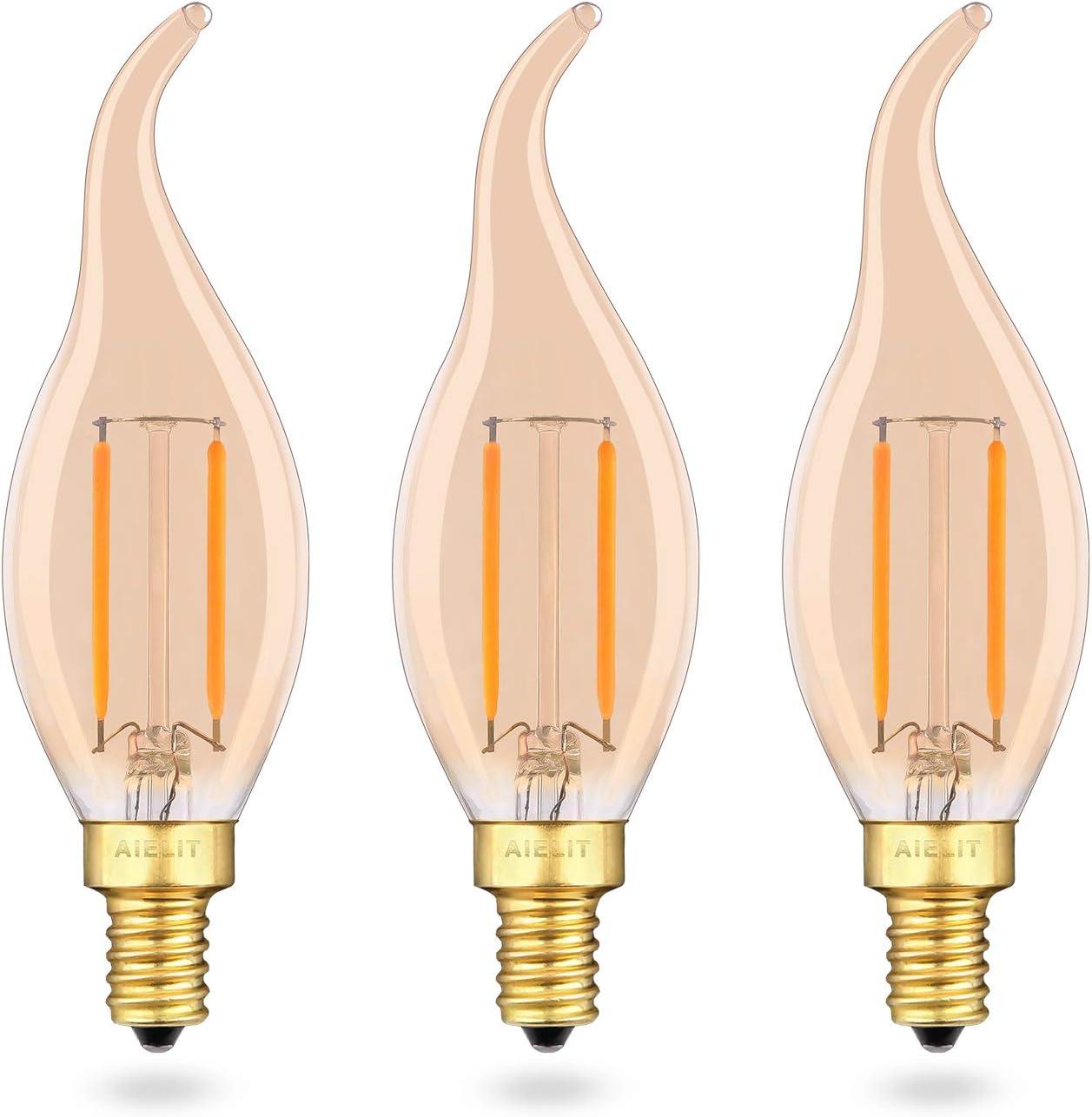 CA10 E12 Edison LED Bulb Dimmable, 2W(25-Watt Equivalent), Warm White 2700K, Amber Glass,200 Lumens, AIELIT CA10 LED Candelabra Light Bulbs for Pendant Chandelier Hanging Lamp Home, 3-Pack