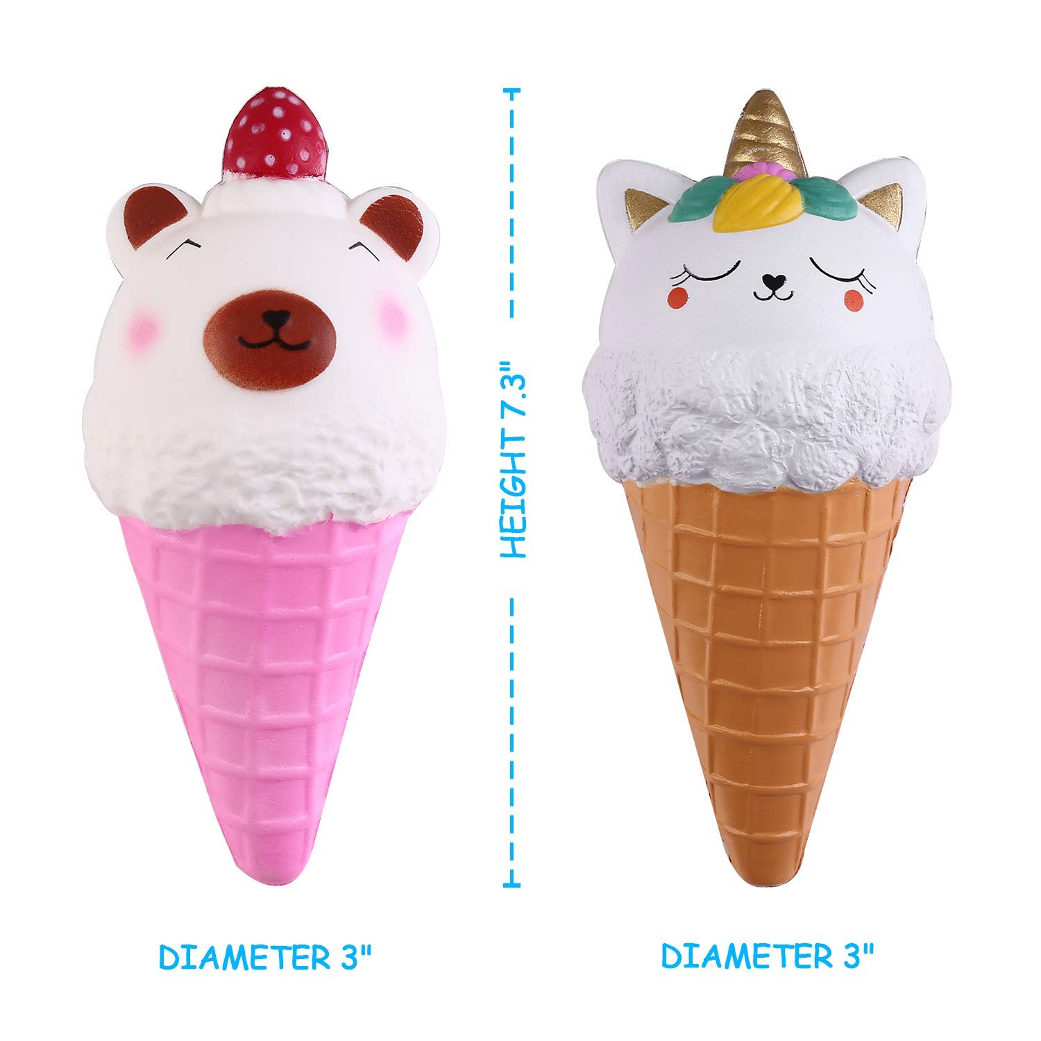 Ice Cream Cone Squishy Pack - Crefun NM9213 (2019 New) Jumbo Slow Rising Cute Squishies Food Gifts for Kid Stress Relief Toys including 2Pcs Bear Cat Unicorn, 7.3 Inch, Super Soft Cream Scented Kawaii