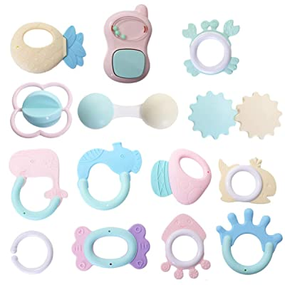 TOYANDONA 12pcs Baby Teething Toys Hand Rattle Toy for Infant Teething Molar Chewing Soothers Massages Toys Aged 0-1(Assorted Color): Toys & Games
