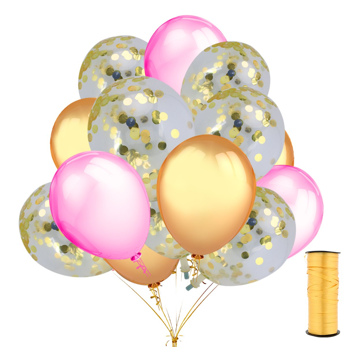 15 Pieces Gold Confetti Balloons with 12 inches Gold and Pink Latex Party Balloons (30 Pcs) and a Roll of Gold Curling Ribbon For Wedding Birthday Boby Shower Party Decorations Supplies
