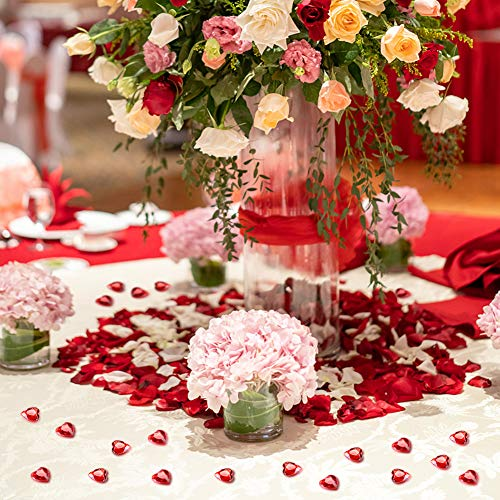 HAKACC Heart-Shaped Acrylic Diamonds, 1000 PCS Red Wedding Table Crystals Heart Shape Gems Table Decorations for Wedding Day