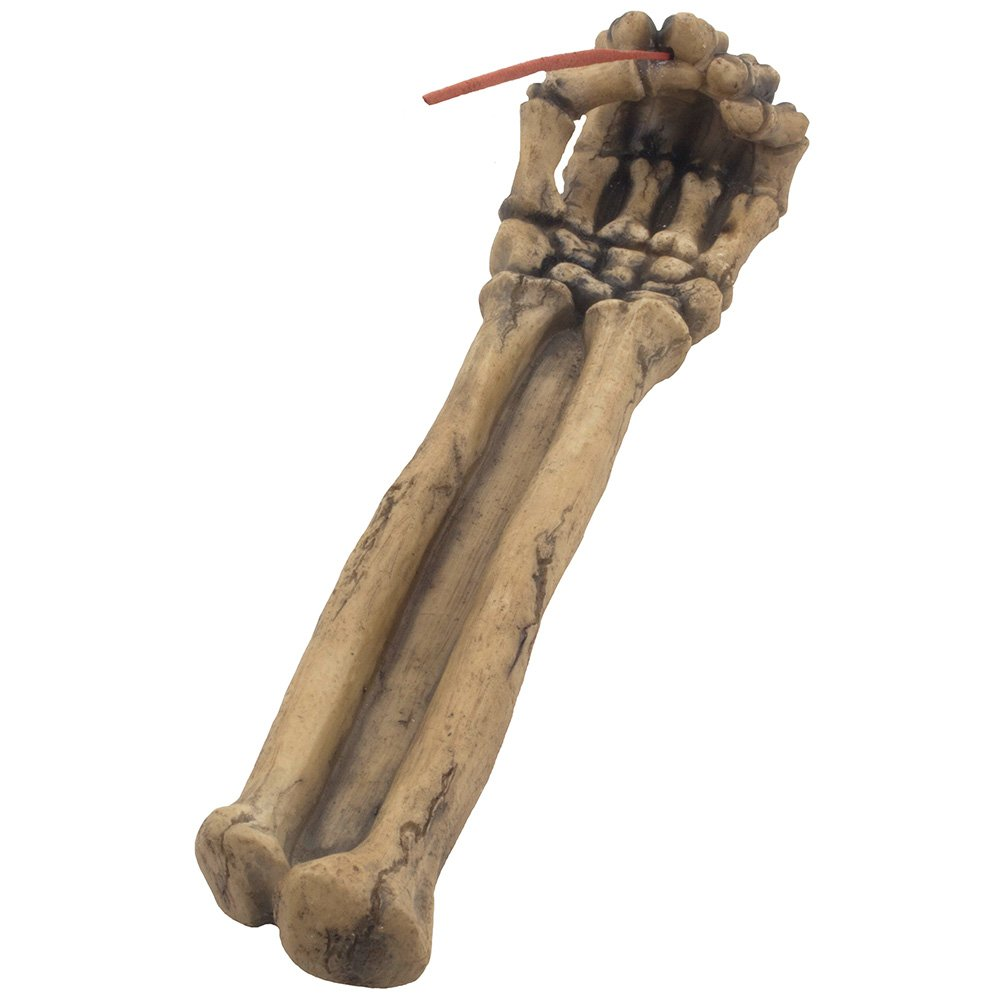 Bone Chilling Skeleton Arm and Hand Incense Stick Holder Display Stand Figurine for Scary Halloween Decorations or Medieval Art /& Gothic Home Decor Aromatherapy Incense Burners As Spooky Fantasy Gifts