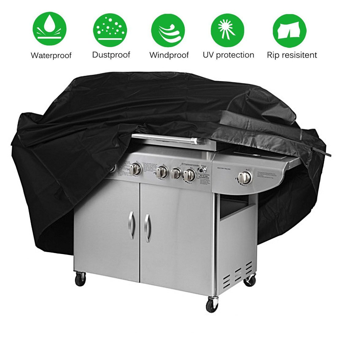 Grill Cover Medium 60 Inch BBQ Cover Heavy Duty Waterproof Weather Outdoor Patio Barbeque Gas Grill Covers for Home Garden Durable and Convenient Black