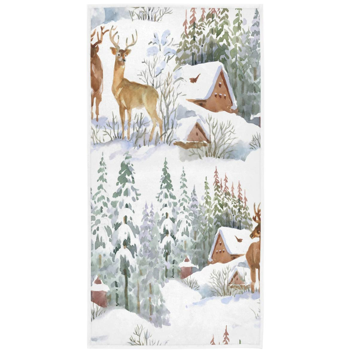 Wamika Watercolor Deers Christmas Hand Towels 15x30 in Winter Snow Snowflakes Bathroom Bath Towel Fingertip Towels Absorbent Ultra Soft for Hand Gym Spa