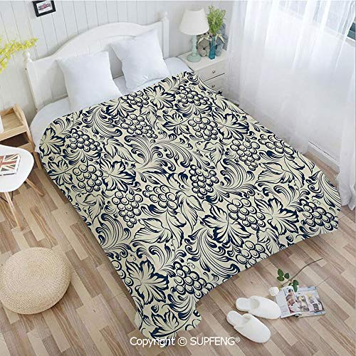 Kit Invitation Elegance (Luxury Bed Blanket Vintage Style Grapes Vineyard Orchads Pattern Invitation Card Design Retro Image(W59xL78.7 inch) Easy Care Machine Wash for Bedroom/Living Room/Camping etc)
