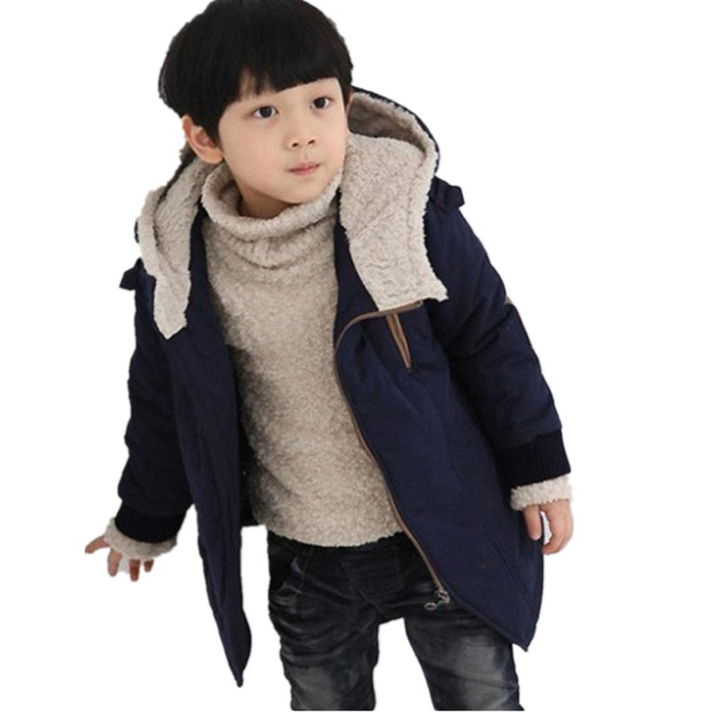 Kids Winter Jacket,FUNIC Children Boys Jackets Hooded With Faux Fur Outerwear Winter Warm Jacket Clothes (Orange, 3-5 Year)