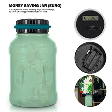 Frontoppy Contador Digital Hucha per EUR, Automático Moneda Contando Caja de Dinero para Niños y