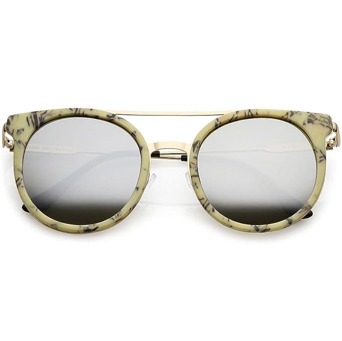 be7a8612ec3 Amazon.com  sunglassLA - Modern Horn Rimmed Sunglasses Sleek Double Nose  Bridge Round Color Mirrored Lens 51mm (Beige Gold Silver)  Clothing