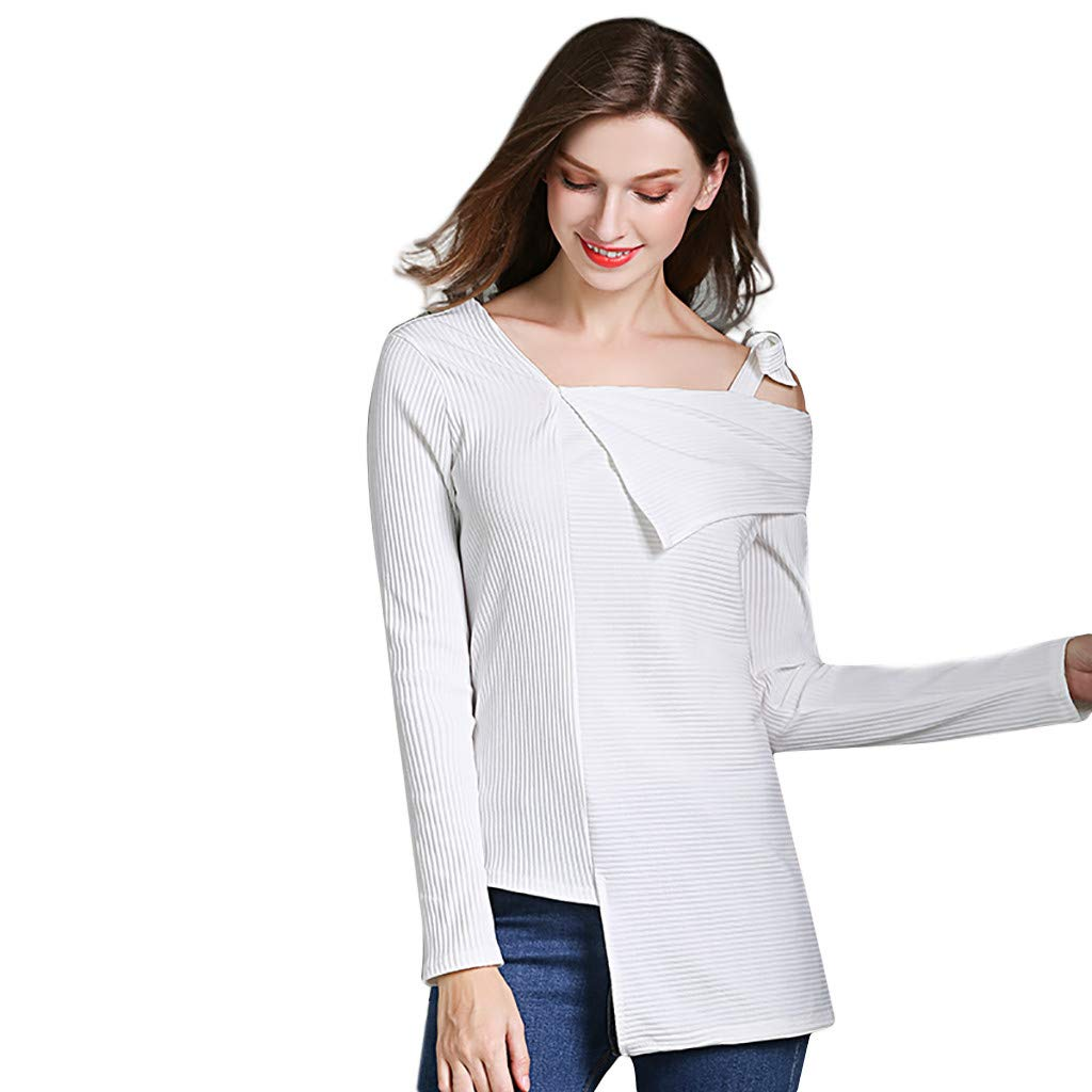 Womens Tops Fashion Bow Sling Solid Color Long Sleeve Tunic Blouse Shirt