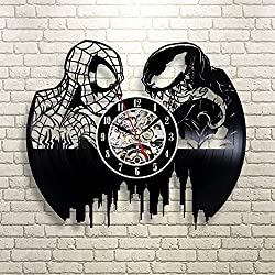 Spiderman vs Venom Vinyl Record Wall Clock - Get Unique Gifts Presents for Birthday, Christmas, Ideas for Boys, Girls, Men, Women, Adults, him and her