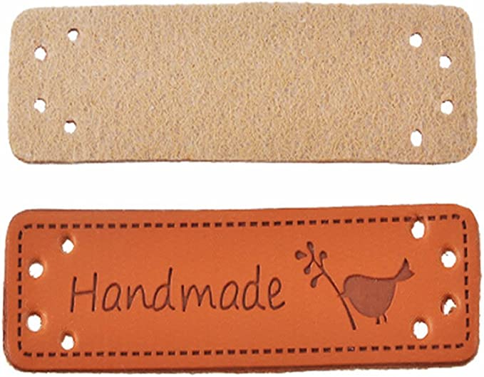 Exceart Leather Handmade Labels Embossed Tag with Holes DIY Embellishments Ornaments for Crafts Knitting Crocheting 20pcs Mixed Style