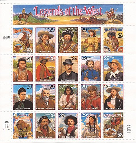 Legends of the West Complete Pane of Twenty 29 Cent Stamps Scott 2869 By USPS from USPS
