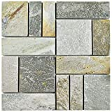 SomerTile SCRPTQA Cliff Patchwork Arizona Quartzite Natural Stone Mosaic Floor and Wall Tile, 12'' x 12'', Grey/Brown/Beige/Orange