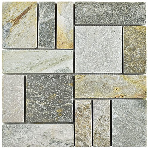 SomerTile SCRPTQA Cliff Patchwork Arizona Quartzite Natural Stone Mosaic Floor and Wall Tile, 12'' x 12'', Grey/Brown/Beige/Orange by SOMERTILE (Image #6)