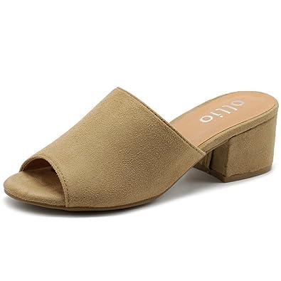 73970c4e7b31 Ollio Women s Shoe Faux Suede Chunky Low Heel Open Toe Mule Sandal GLN01  (10 B
