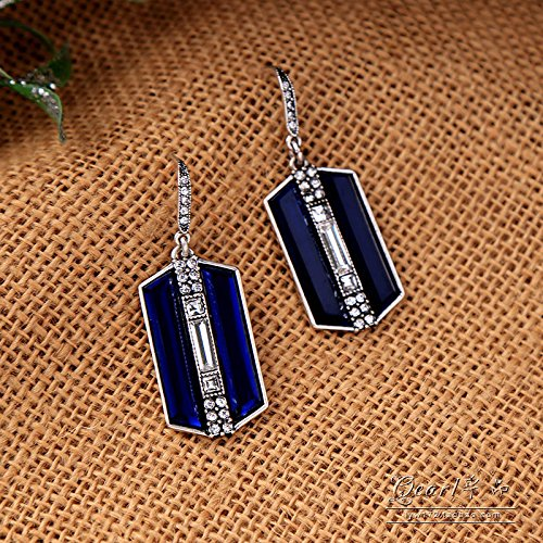 usongs Foreign trade real shot in Europe and America do old retro fashion navy blue gem crystal diamond earrings women girls birthday party
