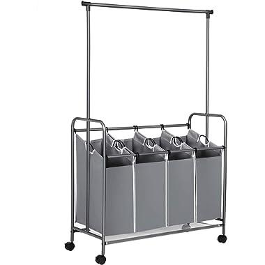 SONGMICS 4-Bag Laundry Sorter, Rolling Laundry Cart with Hanging Bar, Heavy-Duty Wheels, Gray URLS44GS