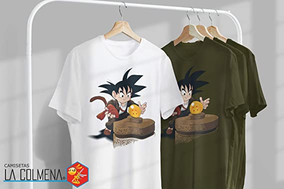Camisetas La Colmena 3100- Parodia Raiders of The Lost Balls (Dragon Ball Goku Indiana Jones) (Inaco): Amazon.es: Ropa y accesorios