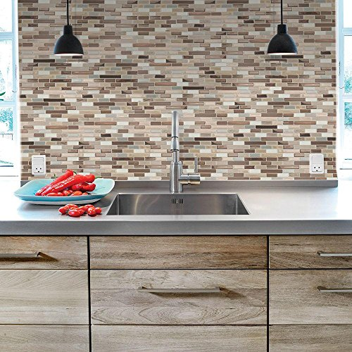 10.25 in. x 9.125 in. Peel and Stick Muretto Mosaic Decorative Wall Tile in Durango (12-Pack) by Smart Tiles