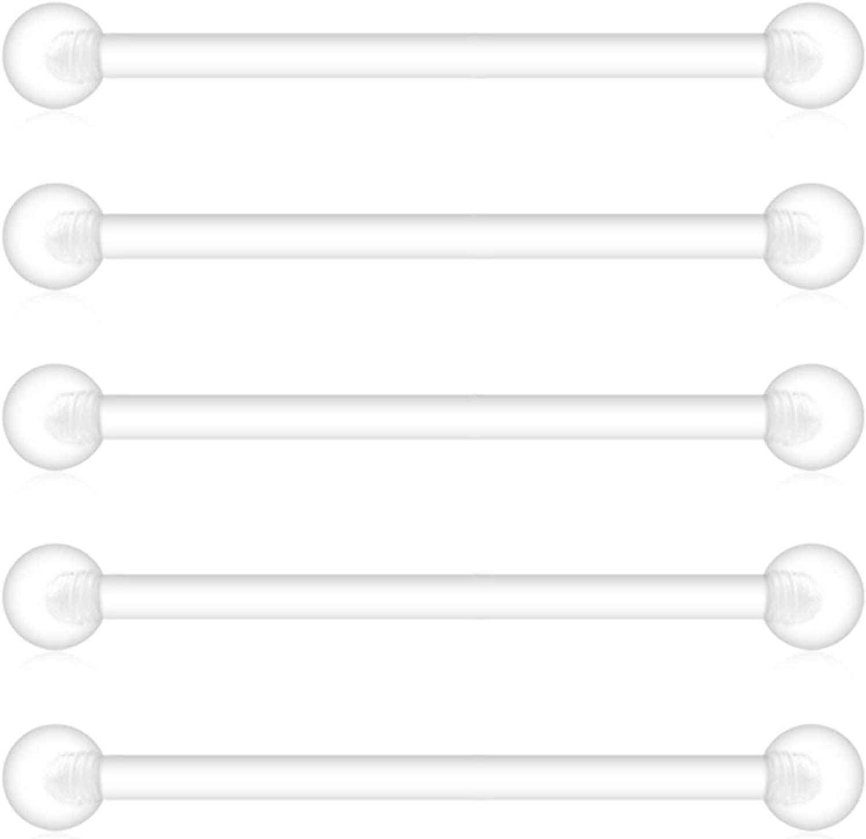 Briana Williams 5pcs Claro Flexible Bioplast Barbell Industrial Piercing Cuerpo joyería retenedor 38 mm