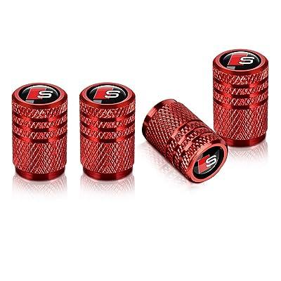 Baoxijie 4Pcs S Line Logo Car Tires Valve Stem Caps for Audi S Line S3 S4 S5 S6 S7 S8 A1 A3 RS3 A4 A5 A6 A7 RS7 A8 Q3 Q5 Q7 R8 TT Car Styling Decoration Accessories red: Automotive