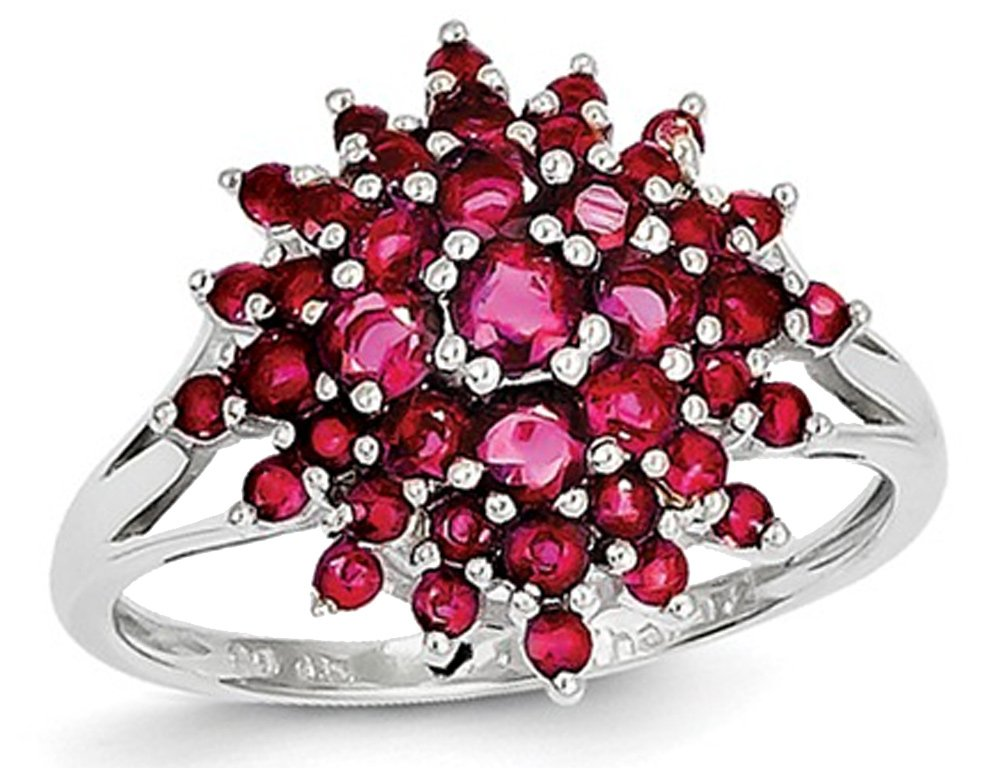 1.20 Carat (ctw) Natural Ruby Ring in Rhodium Plated Sterling Silver