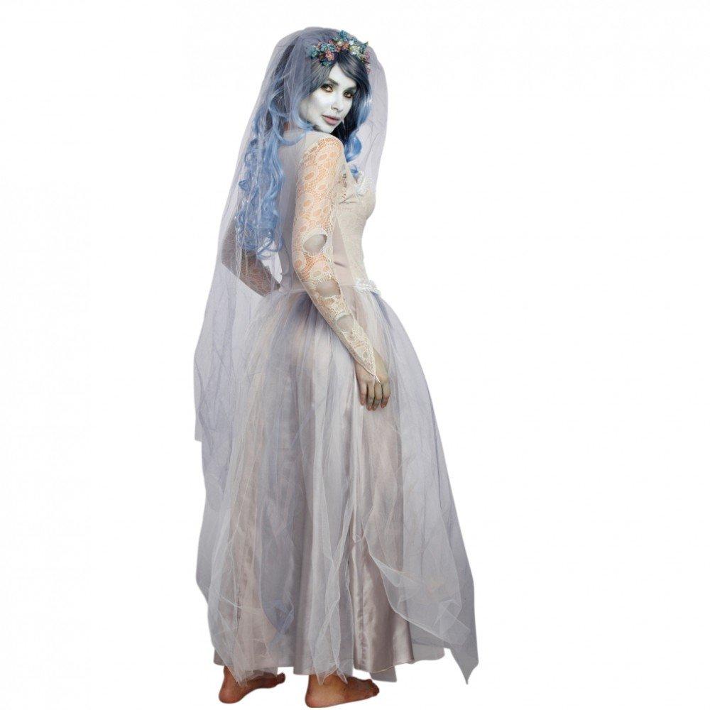 Kostüm Zombie Braut Gr. S Brautkleid grau Schleier Halloween Geist ...
