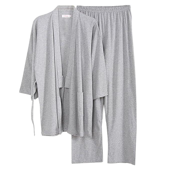 Fancy Pumpkin Software para Hombre Estilo japonés Kimono Pijama Traje Bata Conjunto [L, A1