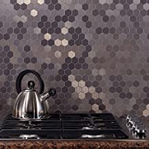 Aspect Peel and Stick Backsplash 12inx4in Honeycomb Stainless Matted Metal Tile for Kitchen and Bathrooms (15 Sq Ft Kit )