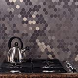 Aspect Peel and Stick Backsplash 12inx4in Honeycomb Stainless Matted Metal Tile 15 Sq Ft Kit for Kitchen and Bathrooms