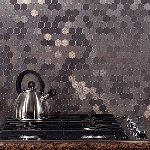 Aspect Peel and Stick Backsplash 11in x 4in Honeycomb Stainless Matted Metal Tile for Kitchen and Bathrooms - Tile Metal Backsplashes