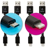 CableLinx Value Pack of (2) Micro to USB and (2) Lightning to USB Charge and Sync Cables for ChargeHub, iPhone 7/7Plus, 6/6s Plus, Galaxy S8/S7, Google Pixel, LG, Nexus, HTC and More - (Black)