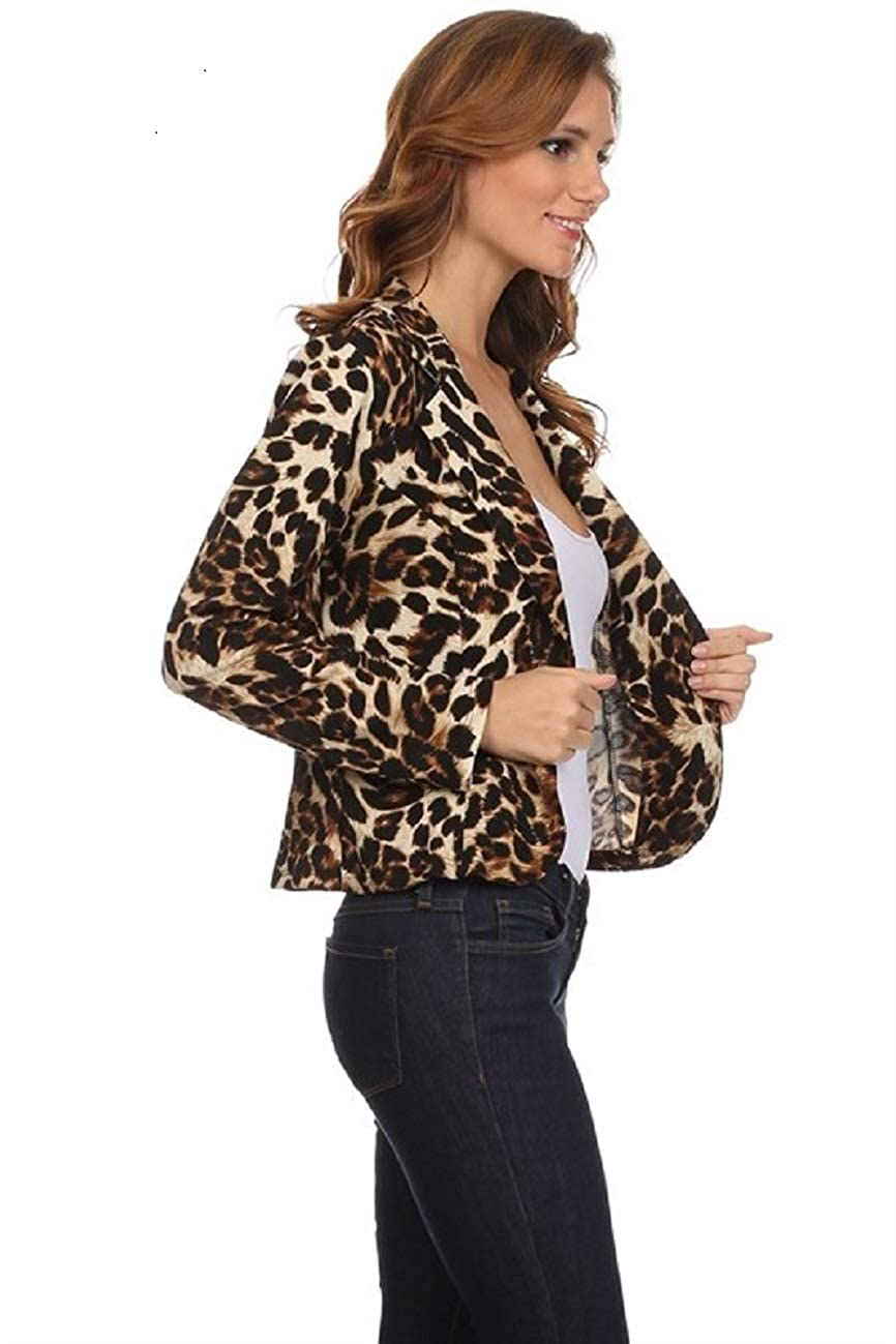 Fashion Secrets Women`s Animal Print Leopard Cheetah Formal Suit Jacket