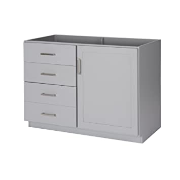MAYKKE Sterling 48 Inch Bathroom Vanity Cabinet In Birch Wood Light Grey  Finish, Single Floor