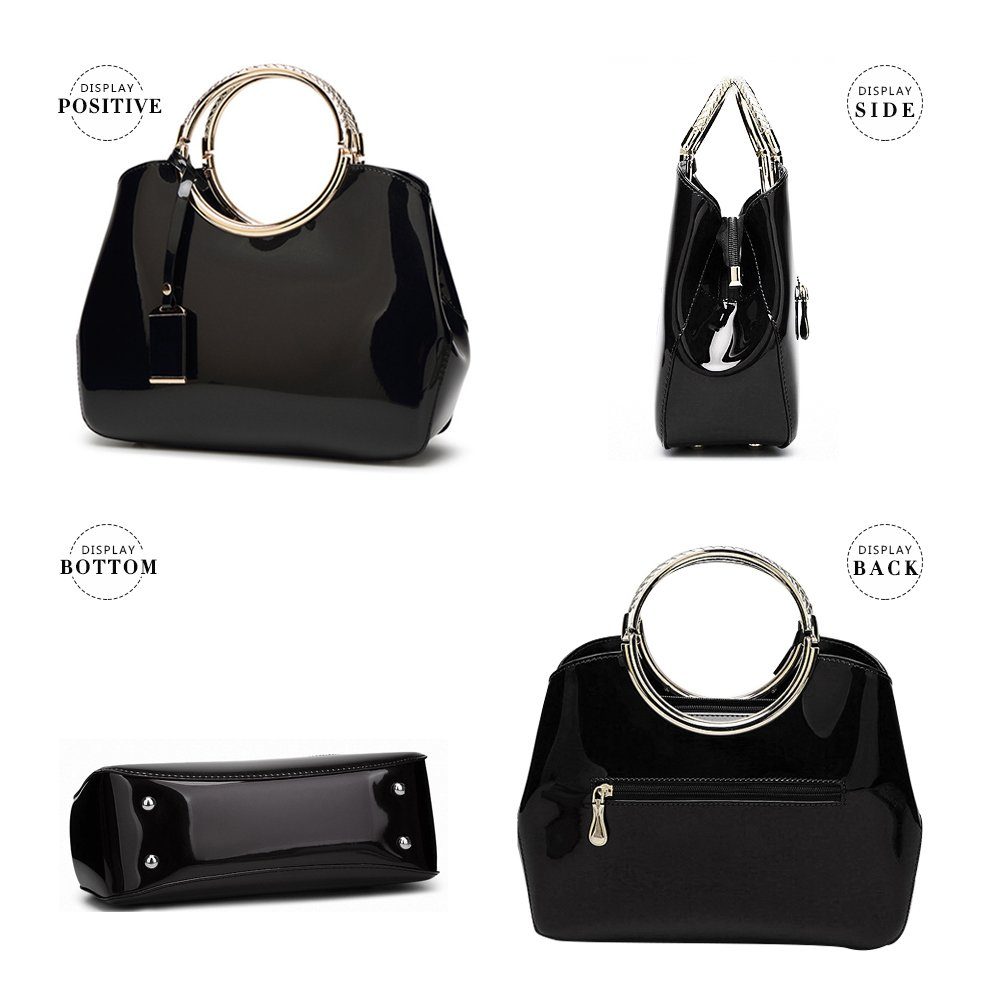 2eff78d66c95 G-AVERIL 2018 NEW Womens Black Handbags Ladies Top Handle Bags Patent  Leather Stylish Tote Shoulder Bags Purse  Amazon.com.au  Fashion