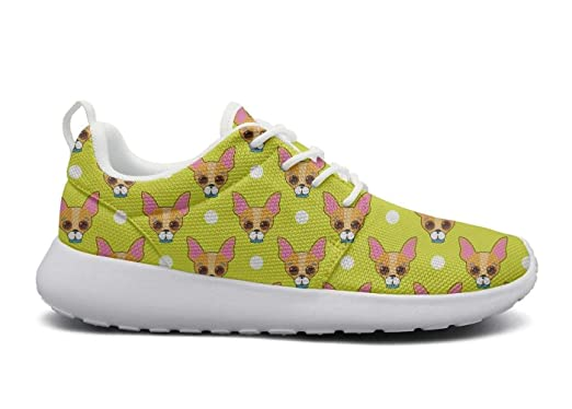 Amazon.com  Chihuahua dog Face and dots yellow Comfort Print women sports  Running Shoes Casual Lightweight Athletic Sneakers  Clothing 89de2f1b4