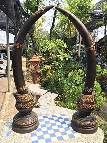 A Pair Of Ivory, Wood Carving Dark Brown and Gold Elephants Tusk shape with sparkling gems offset the intricate carvings and graceful shape. Big Size 36 inch, Thailand Art Decor. by WADSUWAN SHOP